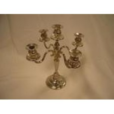 Candelabra Tabletop with 5 Candles- Silver