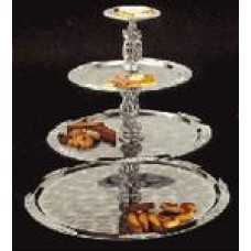 Tray 4 Tier Stainless- Gold Trim